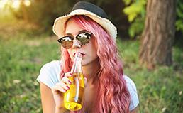 Girl Drinking Outside